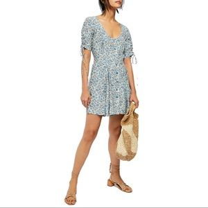 FREE PEOPLE Laced Up Floral Mini Dress